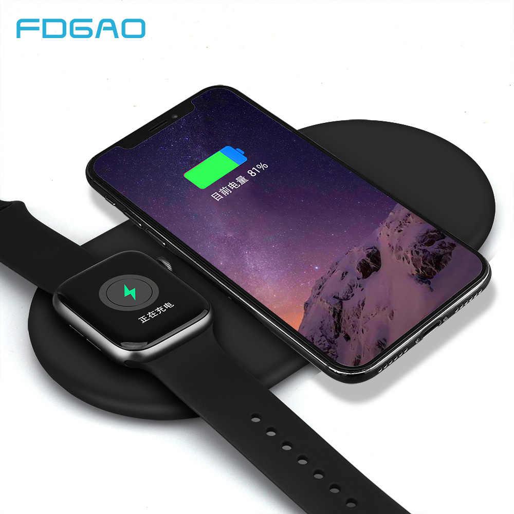 FDGAO 10 W Qi cargador inalámbrico para iPhone XS Max XR 8X8 para el reloj de Apple 4 3 2 1 usb rápido almohadilla de carga para Samsung S9 S8 Nota 9 8