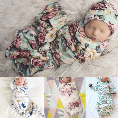 4Types Hot Sale Soft Muslin Baby Floral Animals Swaddling Blanket Newborn Infant Cotton Swaddle Towel Headband