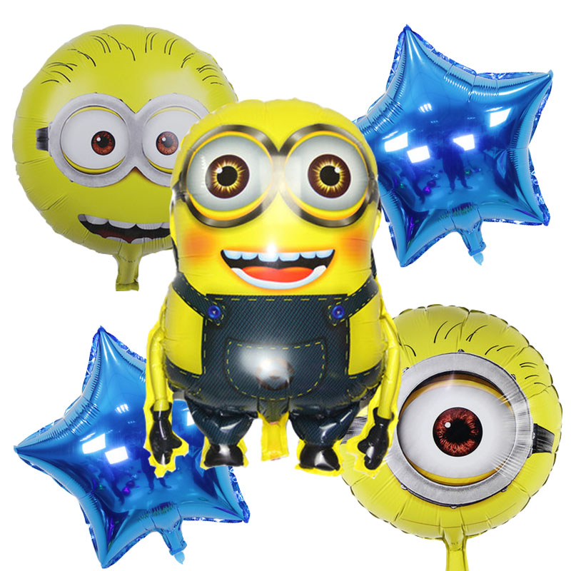 5pcs/lot Minions foil Balloons Birthday Party Decoration inflatable happy Birthd