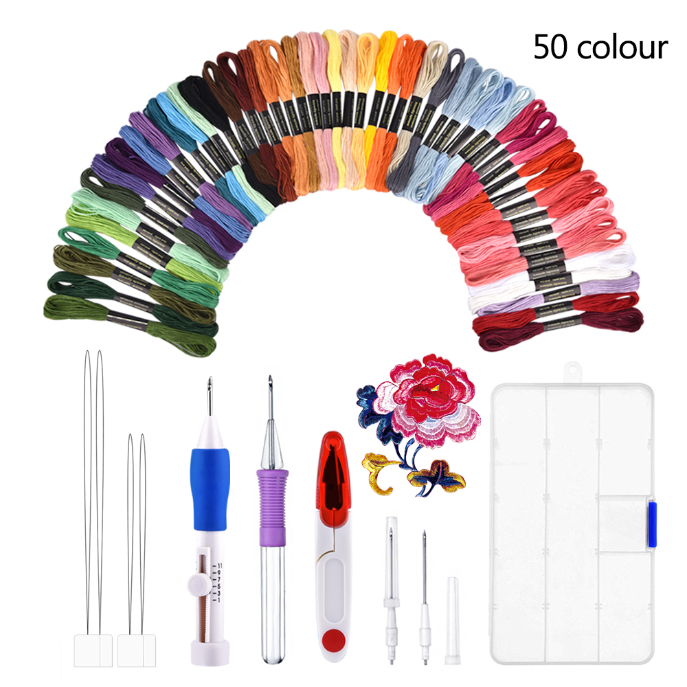 Embroidery Punch Needle Set 50 Color Thread Embroidery Needle Punching Stitching Needlework Craft Tool Sewing Accessories