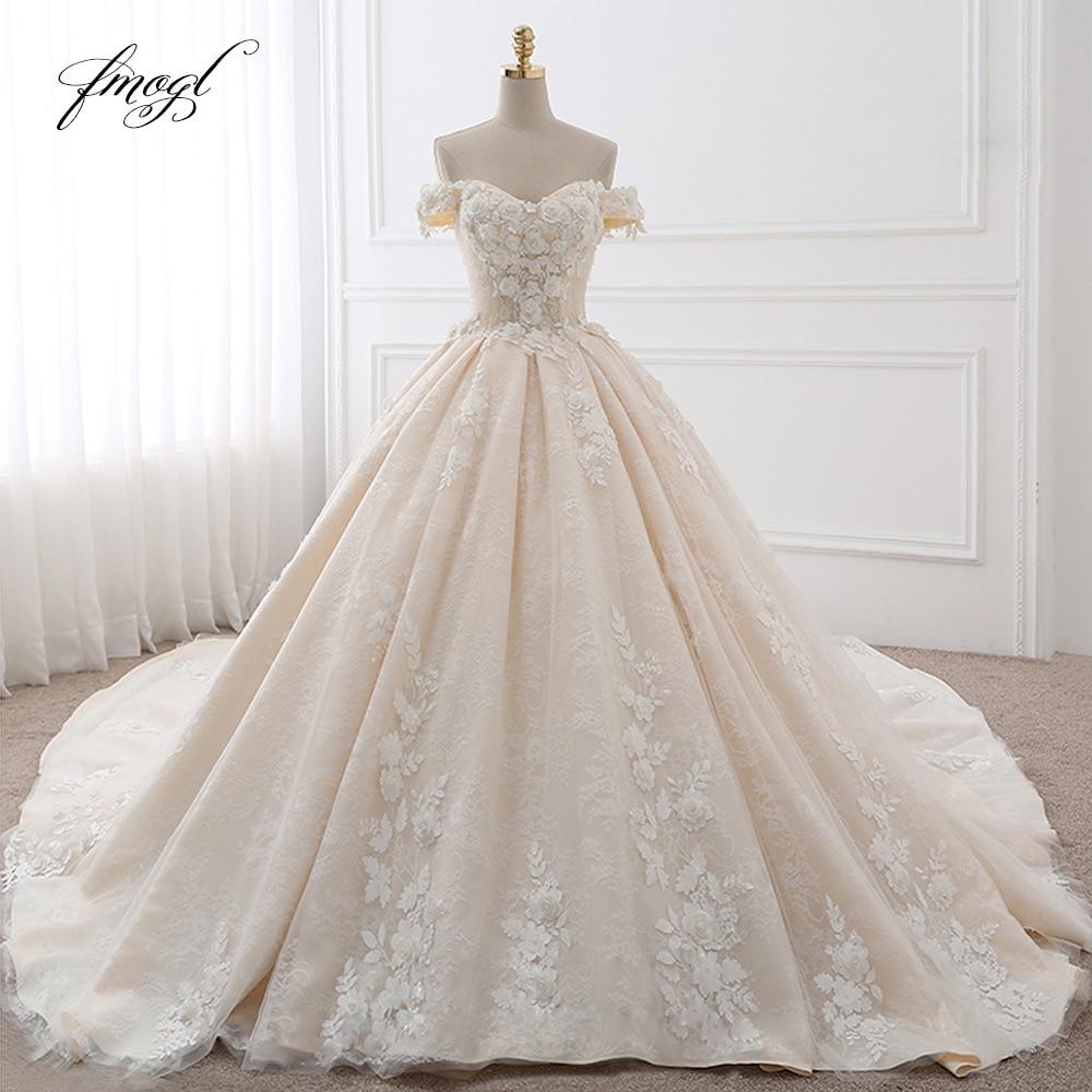 Fmogl Royal Train Sweetheart Ball Gown Wedding Dresses 2019 Appliques Flowers Vintage Lace Bride Gowns Vestido
