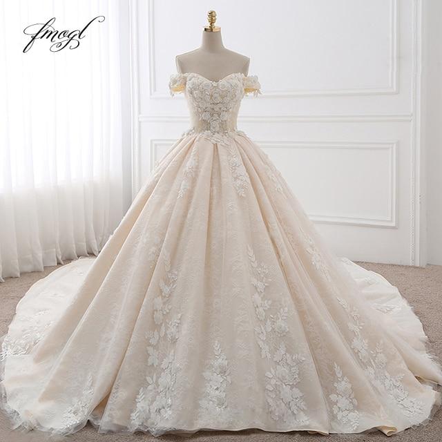 Fmogl Royal Train Sweetheart Ball Gown Wedding Dresses 2021 Appliques Flowers Vintage Lace Bride Gowns Vestido De Noiva 1