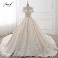 Fmogl Royal Train Sweetheart Ball Gown Wedding Dresses 2019 Appliques Flowers Vintage Lace Bride Gowns Vestido De Noiva