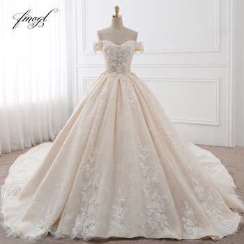 Fmogl Royal Train Sweetheart Ball Gown Wedding Dresses 2019 Appliques Flowers Vintage Lace Bride Gowns Vestido De Noiva - DISCOUNT ITEM  29% OFF All Category