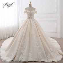 Fmogl свадебное платье с королевским шлейфом, свадебное платье с цветочной аппликацией, винтажное кружевное платье невесты 2020