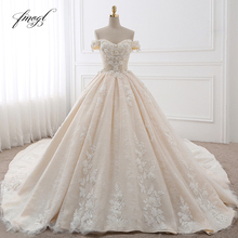 Fmogl cola Vestido De novia con escote Corazón, Vestido De novia con apliques De flores, Encaje Vintage, novia, 2020