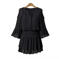 New 5XL Plus Size Women Clothing Lantern Sleeve Sexy Elastic Waist Dresses Summer Style Pleated Short