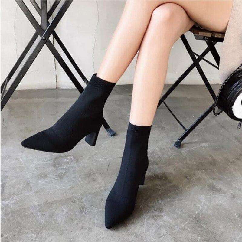 Beige Chelsea Stretch Botines De Corto negro Slim Martin Sock Mid Famosa Marca Botas fósforo Del Europeas calf Todo Delgada Mujer xzUgRqIwg