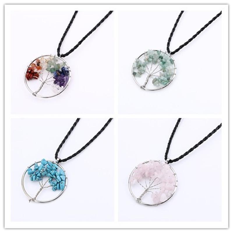 Bohemia Women Rainbow Tree Of Life Quartz Chips Pendant Necklace Multicolor Wisdom Tree Natural Stone Necklace