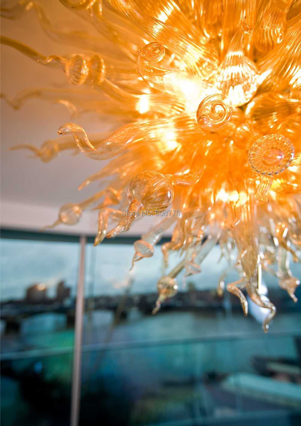 Free Shipping High Quality Blown Glass Amber ChandeliersFree Shipping High Quality Blown Glass Amber Chandeliers