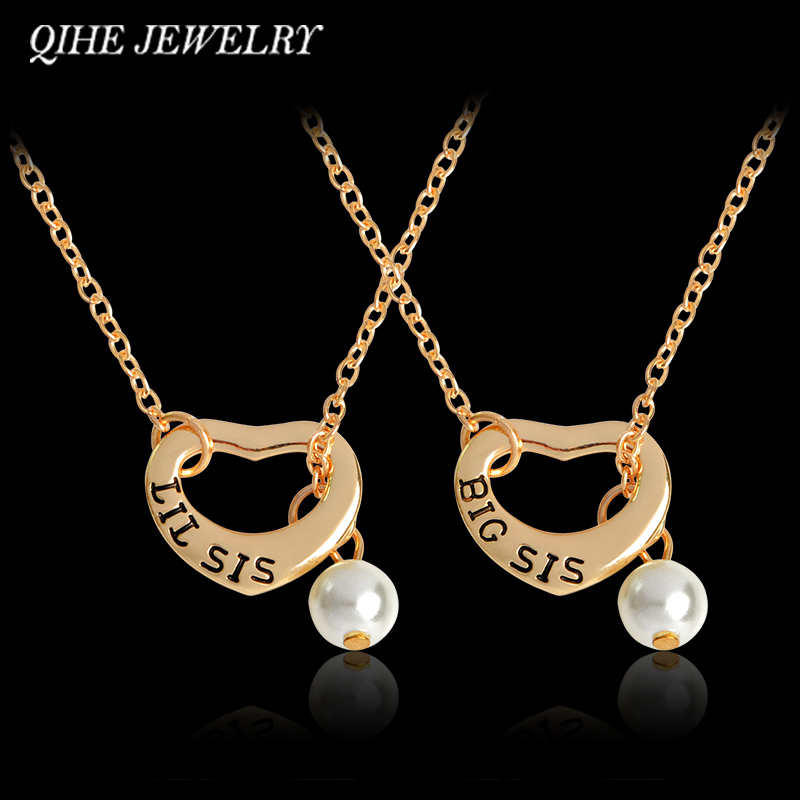 QIHE JEWELRY Big sis Lil sis Heat Shape With Imitation Pearl Pendant Necklace Family Jewelry 2 Sister Jewelry Gift For Sisters