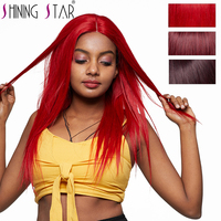 Shining Star Red Lace Front Human Hair Wigs Human Hair Lace Front Wig Burgundy Brazilian Straight Hair Wigs Black Women Non Remy