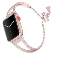 4 Colors Diamond Watchband For Apple Watch Band Series 4/3/2/1 Watch Band iWatch 38/40/42/44mm Metal Wrist Bracelet Strap Gifts