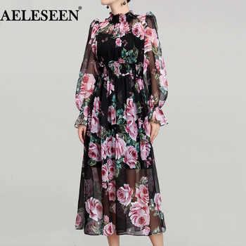Romantic Rose Print Long Dresses Runway 2018 Spring Elegant Holiday Turtleneck Waist Elastic New Arrival Exquisite Ladies Dress - DISCOUNT ITEM  55% OFF All Category