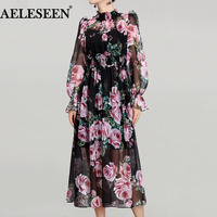 Romantic Rose Print Long Dresses Runway 2018 Spring Elegant Holiday Turtleneck Waist Elastic New Arrival Exquisite