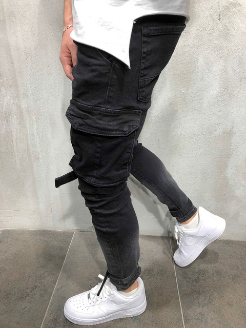 Skinny Biker Jeans Men Multi-pocket Bandage Slim Cargo Joggers trousers for Men Motorcycle Hip hop Streetwear Swag Denim Pants