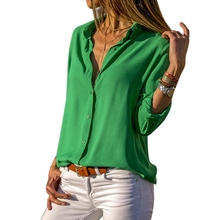Sexy Deep V-Neck Blouse Solid Long Sleeve