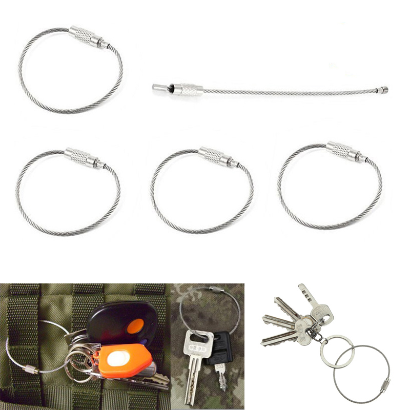 10pcs 15cm Edc Edc Keychain Tag Rope Stainless Steel Wire Cable Loop Screw Lock Gadget Ring Key Keyring Circle Camp Hanging Tool Tool Sets