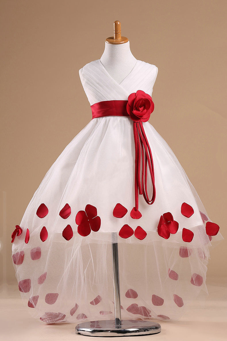 Red wedding dress for kids promotion shop for promotional red hot sales popular christmas baby girls kids flower petals party wedding prom fancy dress 2colors ombrellifo Gallery