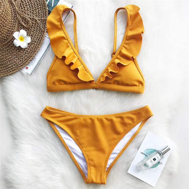 95b4e40dd 2019 Aroma Fresco Sólido Bikini Set Swimsuit Verão Maiô Praia Swimwear  Brasileiro Biquini monokini