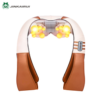 JinKaiRui U Shape Electrical Shiatsu Kneading Back Neck Shoulder Foot Body Massager Infrared Heated Car/Home Massagem Better Sle