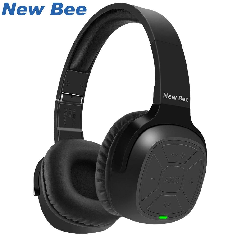New Bee Aktive Noise Cancelling ANC Stereo Faltbare Headset Wireless Bluetooth Kopfhörer mit Mikrofon für Telefon PC TV