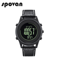 SPOVAN Ultra Thin Sport Business Watch For Men Carbon Fiber Dial Genuine Leather Watchband Altimeter Barometer