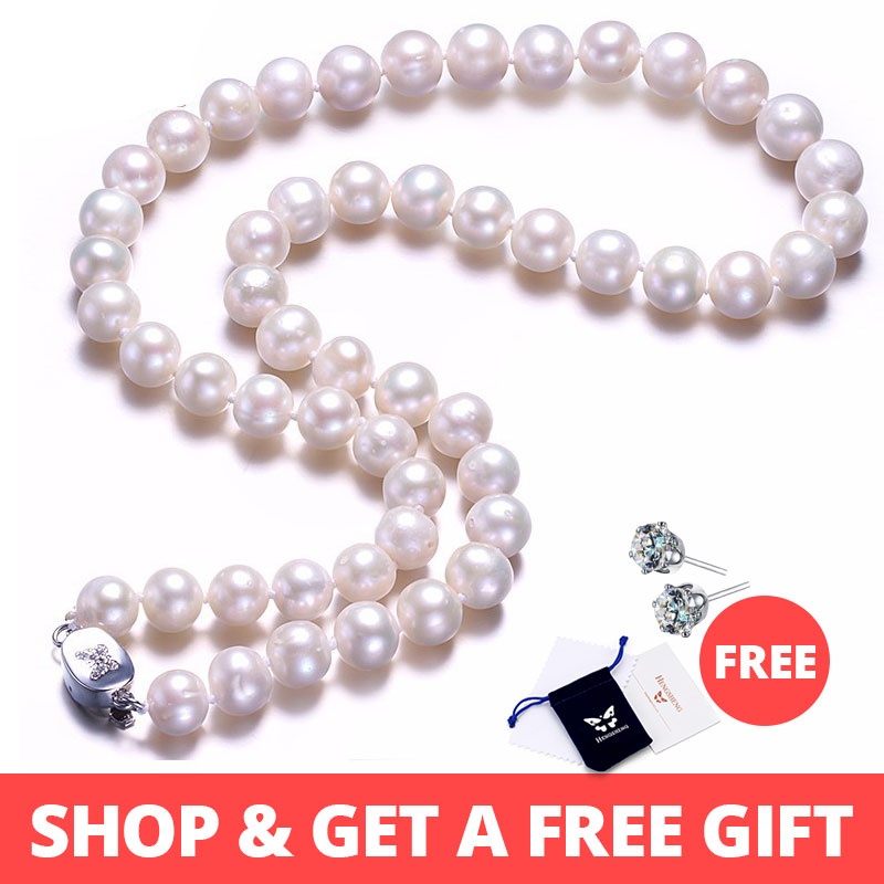 White Real Natural Near Round Pearl Jewelry Women Necklace,925 Sterling Silver Butterfly Buckle,8-9mm 45cm Fine Beads JewelryWhite Real Natural Near Round Pearl Jewelry Women Necklace,925 Sterling Silver Butterfly Buckle,8-9mm 45cm Fine Beads Jewelry