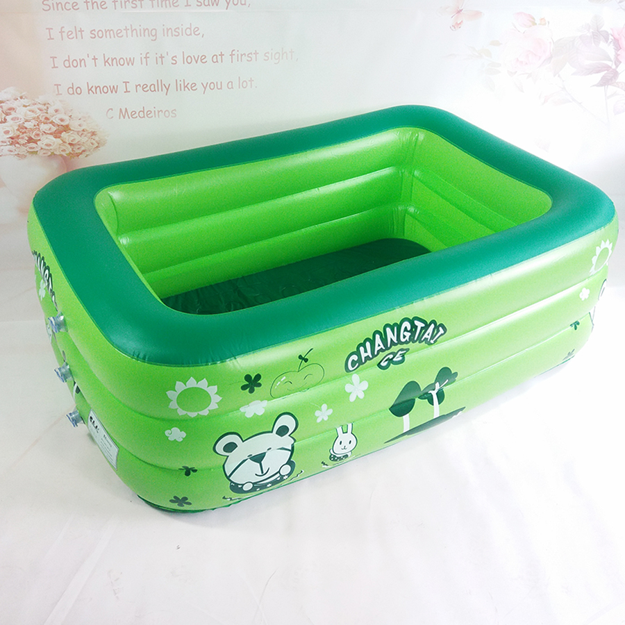 Plastic 3 separate chambers inflatable bottom square pool children baby baby play pool inflatable bathtub dkny chambers ny2494