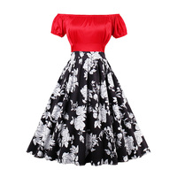 Sisjuly Women Dress Red Female Patchwork A Line Girls Slash Neck Summer Dresses Floral Print Knee