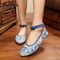 Plum Flower Canvas Flats Size(34-41) Blue beige Chinese Style National Comfortable Soft Sole Embroidery Cloth Dance Shoes