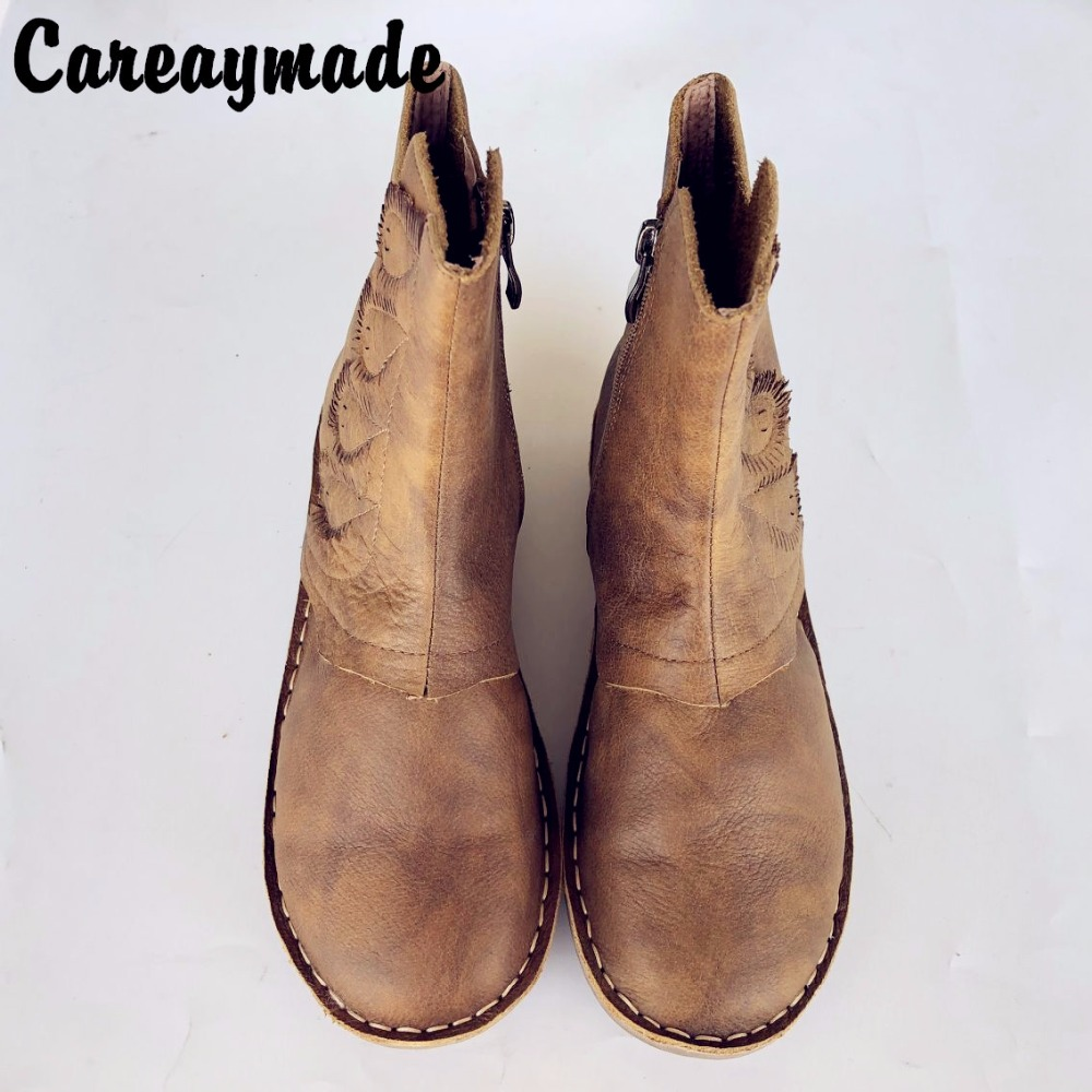 Careaymade-The autumn and winter 2017 new handmade top layer Genuine leather boots Retro Leather shoes Sen girls style autumn and winter new ladies genuine