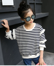 Children's clothing 2019 spring and autumn new girls T shirt trendy striped bottoming shirt cotton long-sleeved baby clothes 2017 autumn new born baby girls clothing sets infant long sleeved letter cotton t shirt