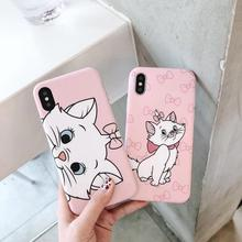 Funda de teléfono de silicona suave gato Rosa Marie para iphone 6 6s 6 s 7 8 plus Love Cartoon funda para iphone X XR XS MAX cubierta Coque