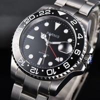 40mm Parnis Luxury Brand black dial Automatic Dress Men Clock sapphire glass GMT Movement Mechanical relogio masculino Watch
