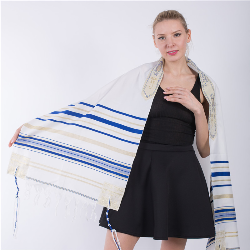 "Jinjin.QC 72x22"" (Approx) Messianic Jewish Tallit Blue And Gold Prayer Shawl Talit And Talis Bag Prayer Scarves And Shawls"