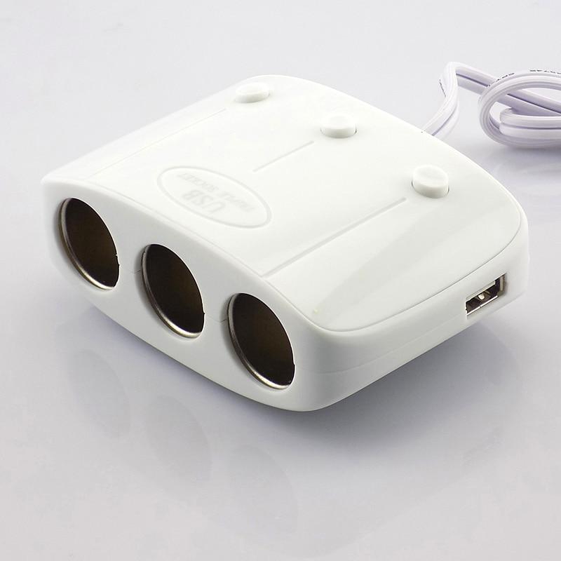 Gakaki 3 Way Car Cigarette Lighter Plug Adapter 1A Car-Charger 12V 24V Car Cigarette Lighter Socket Splitter USB Car Charger