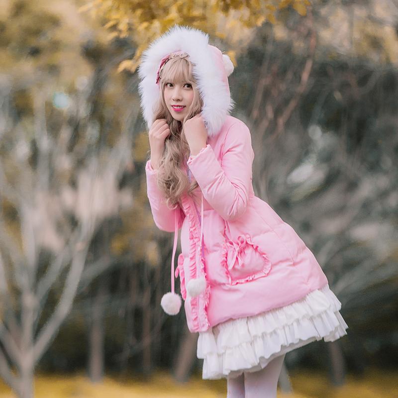 Princess sweet lolita   parkas   Brocade garden Lolita padded winter thick warm fur collar female pink feather cotton   parkas   ZJY095