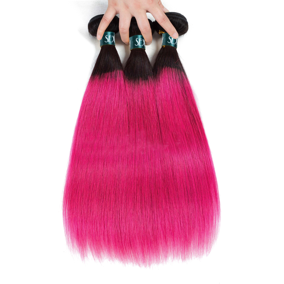 SEXAY Ombre Human Hair Bundles 3 PCS Lot One Pack 1B/Pink Dark Roots Brazilian Straight Hair Rose Pink Pre-Colored Non Remy Hair