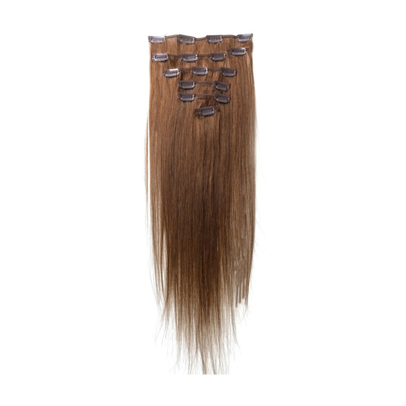 Best Sale Women Human Hair Clip In Hair Extensions 7pcs 70g 15inch Light-brown