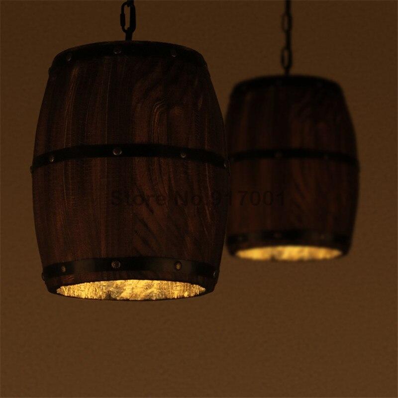 Vintage LOFT Industrial Style Wooden Barrel pendant lamp Bar Wooden pendant light Restaurant Decorative pendant lamps loft style vintage pendant lamp iron industrial retro pendant lamps restaurant bar counter hanging chandeliers cafe room
