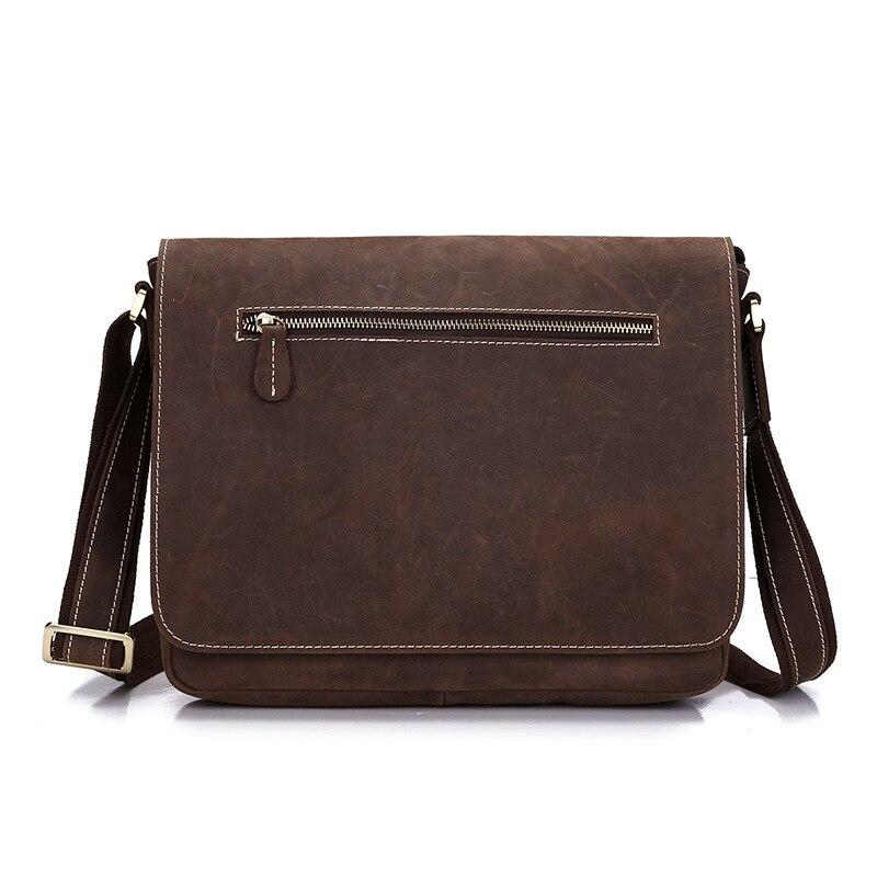 100% Genuine Crazy Horse Leather Bag Men Casual Business Handbag Male Famous Brand Shoulder Bag High Quality Messenger Bag Tote