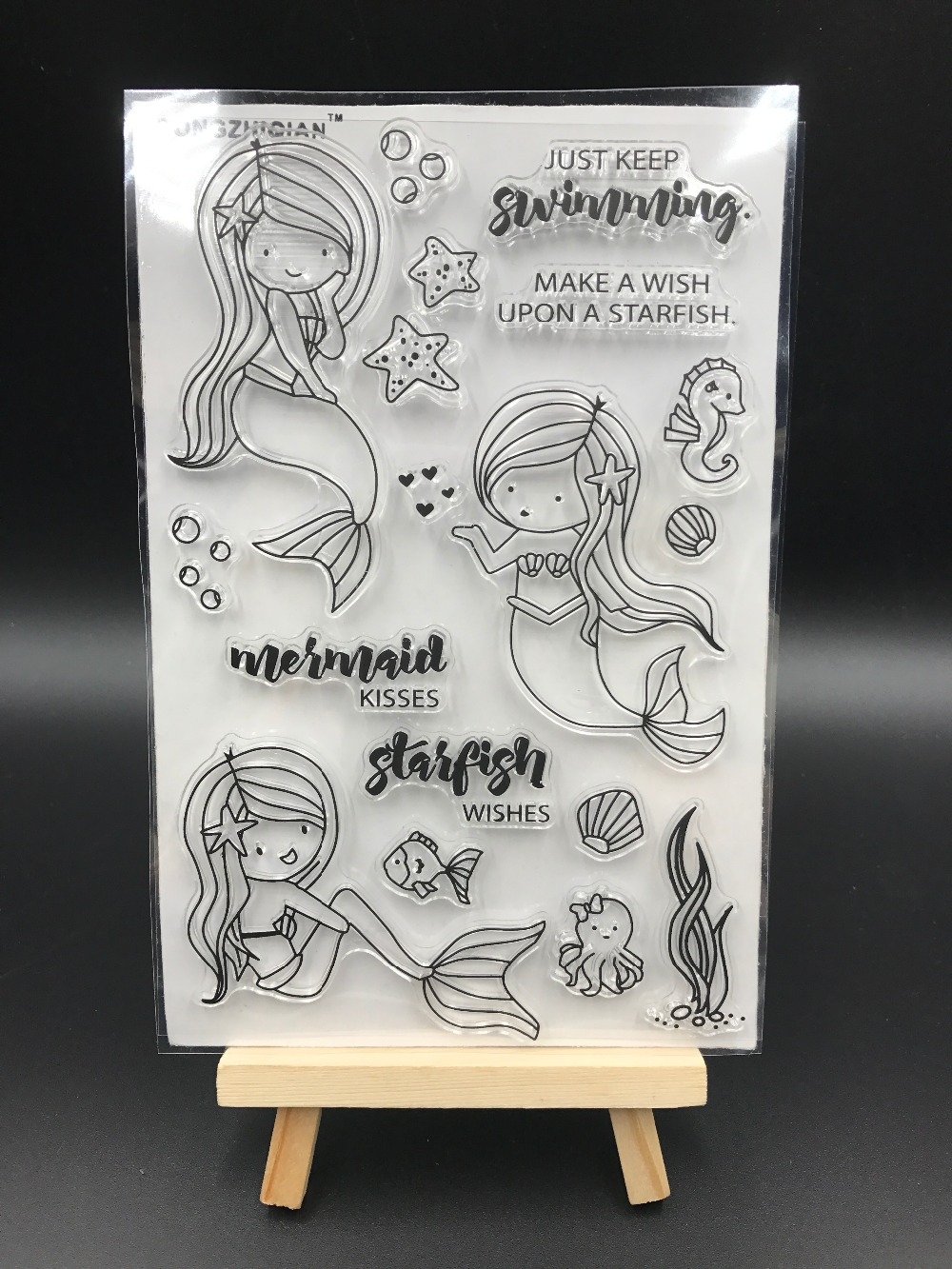 Mermaid Transparent Clear Silicone Stamp/Seal for DIY scrapbooking/photo album Decorative clear stamp sheets A551 lovely animals and ballon design transparent clear silicone stamp for diy scrapbooking photo album clear stamp cl 278