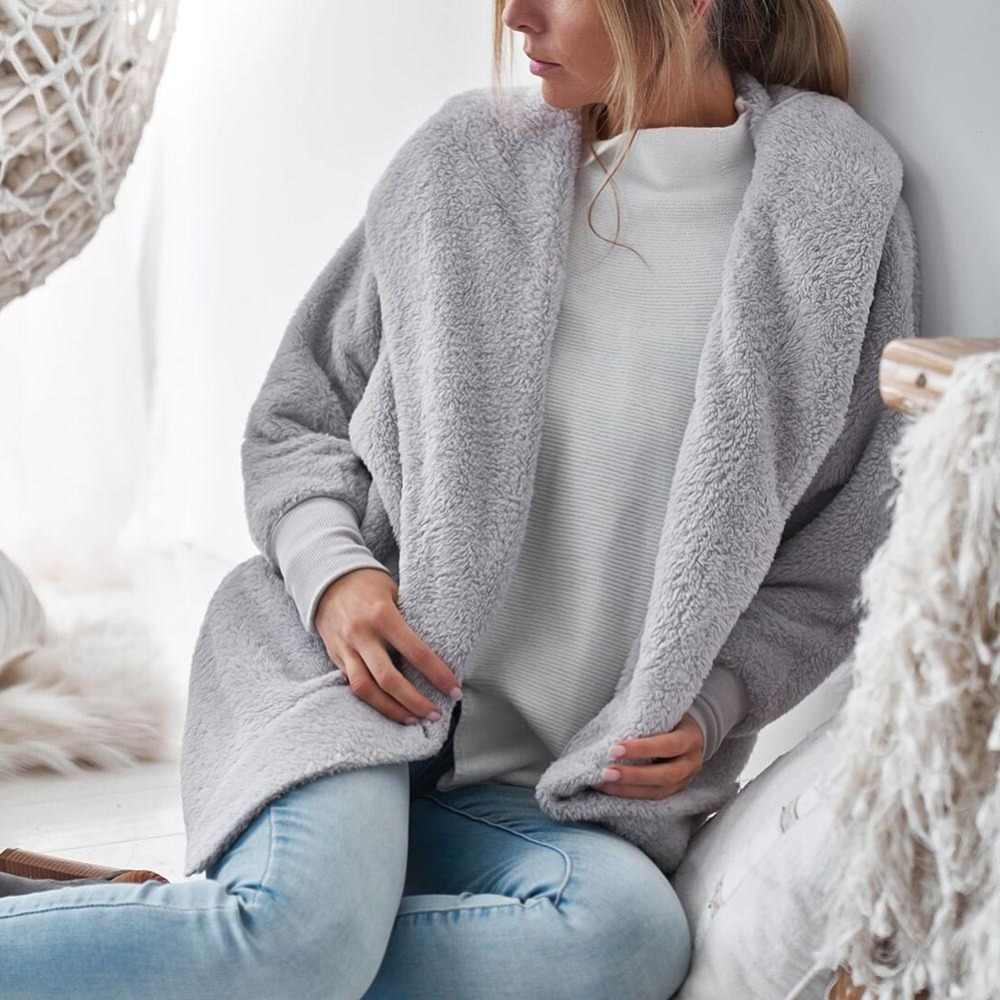 2018 Nieuwe Winter Vrouwen Wollen Jas Lange Mouwen Losse Warm Wollen Jas Hooded Tops Solid Pluche Open Stitch Bovenkleding