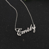 Personalised Manuscript Crystal Pendant Choker Jewelry Wholesale Solid Silver Handwriting Nameplate Necklace Christmas Gift
