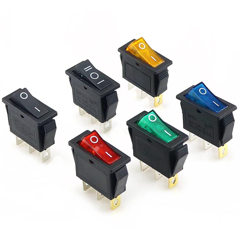 1PCS KCD3  Rocker Switch 15A /20A 125V/250V 3 Pin Electrical Equipment Power Switch   Red, Yellow, Blue, Green  Black