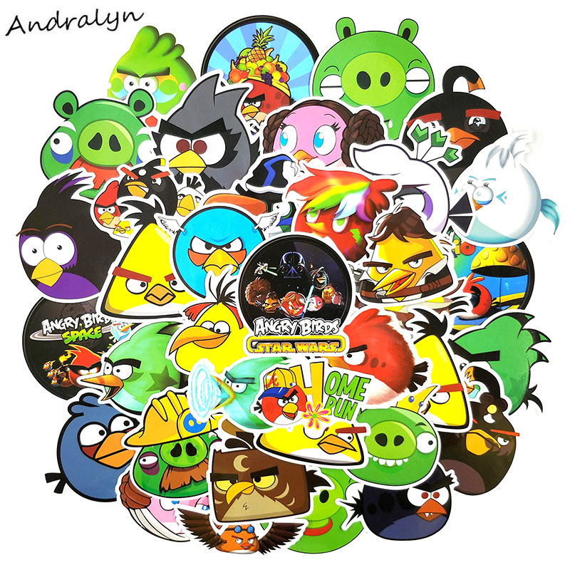 50 Pcs/pack Angry Bird Cartoon Game Stickers For Diary Luggage Motorcycle Laptop Guitar Skateboard Naklejki Anime Stickers