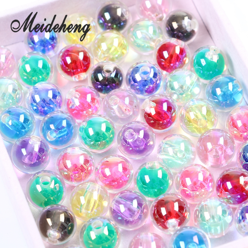 DIY 16mm 10Pcs Print Stars Acrylic Round Spacer Loose Beads Crafts Pick Colors