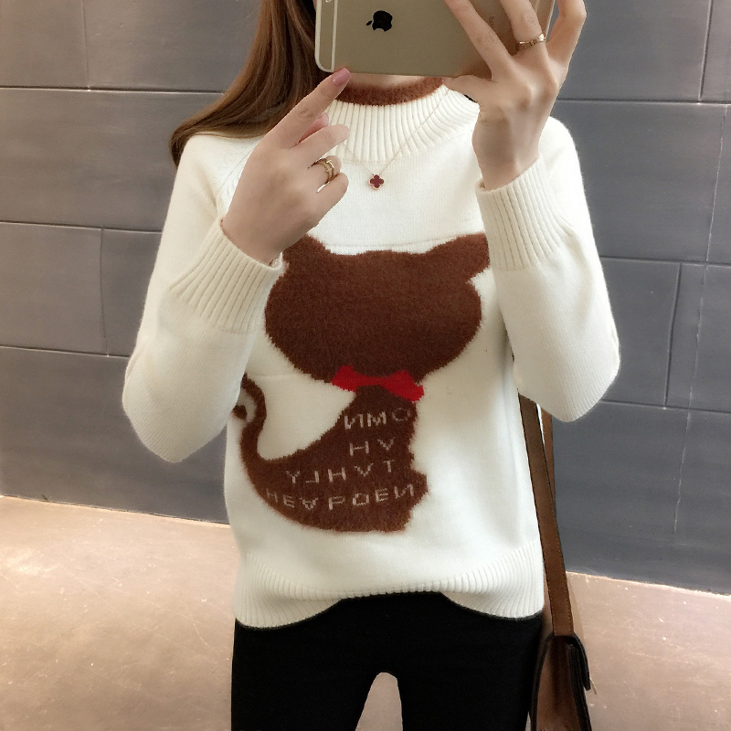 LYFZOUS Cartoon Cat Patch Knitted Sweater Women Contrast Color Sweaters And Pullovers Autumn Winter Turtleneck Sweater Tops