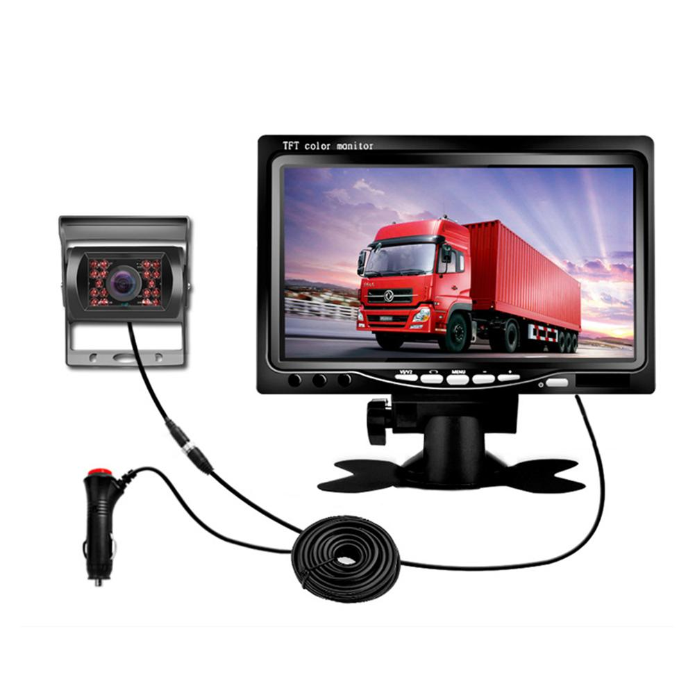 TFT 7 Inch LCD Color Display Screen Car Rear View DVD VCR Monitor With LED Lights Night Vision Backup Reverse Camera 4 3 tft lcd car rear view reverse color camera monitor reversing dvd vcr cctv